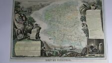 Carte géographique Levasseur - Le  Finistère -1854 - entièrement en couleur