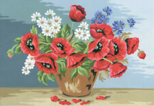 1x Printed Tapestry Thread Canvas Field Flowers in Pottery Sewing Craft Tool