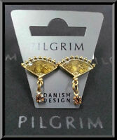 NEW PILGRIM 16K GOLD PLATED EARRINGS SWAROVSKI CRYSTALS HANDMADE VINTAGE JEWELRY