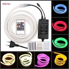 220V 5050 RGB LED Neon strip Light Waterproof Flexible LED Rope+20Key Controller