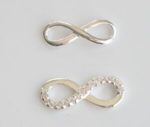 925 Sterling Silver Infinity Charm Spacer Connector Plain or CZ Set Pack 1 or 5