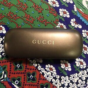 GUCCI Vintage Sunglasses Hard Clam Shell Case Bronze Copper 6.5 X 2.5 Glasses