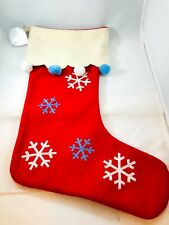 Dept 56 Festive Snowflakes Pom Poms Classic Red Jolly Xmas Stocking  NWT