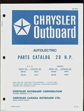 CHRYSLER  20HP OUTBOARD MOTOR AUTOLECTRIC PARTS MANUAL /  OB 1477