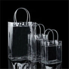 1x Clear PVC Gift Tote Packaging Bags Transparant Handbag Closable Garment Bag
