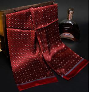 100% Mulberry Silk Satin Scarf men women neckerchief Shawl Wrap red MY128-17