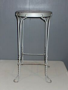 Antique Chippy Paint Twisted Wrought Iron and Wood Ice Cream Parlor Stool