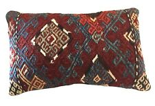 "Antique Caucasian Sumak Rug Fragment Lumbar Pillow 15.5""W"