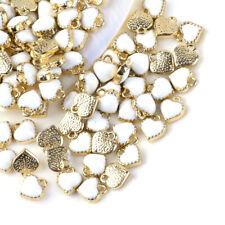 100PCS Heart Alloy Enamel Charms Pendants Necklace Earring Craft Jewelry Making