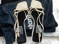 Rare Vintage Versace Istante Nude Suede Sandals Us 7.5 Never Worn Original Box