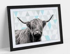 HIGHLAND COW TURQUOISE GEOMETRIC LIGHT -ART FRAMED POSTER PICTURE PRINT ARTWORK-