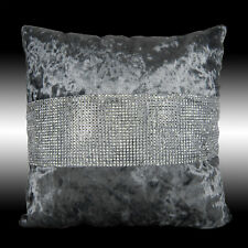 SHINY BLING SILVER GRAY THICK SOFT VELVET THROW PILLOW CASE CUSHION COVER 17""