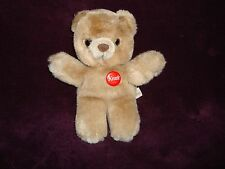 "Kraft Peanut Butter Teddy Bear Red pin back button attached Plush 7.5"" tall"