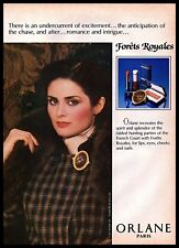 1982 Orlane Paris Forets Royales Cosmetics Brown Checkered Dress VINTAGE AD
