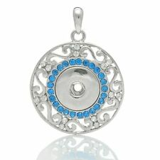 Noosa Ginger Style Snap Button Necklace Silver Blue Rhinestone Fit 18/20mm Chunk
