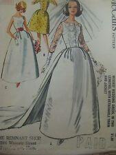 Vintage 60s McCalls 6605 WEDDING DRESS DETACHABLE TRAIN Sewing Pattern Women