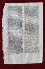 ILLUMINATED MANUSCRIPT LEAF BIBLE VELLUM PARIS FRANCE 1250 #B150S