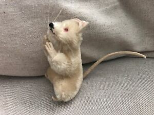 """Vintage SCHUCO Miniature 3 1/2"""" Mohair Mouse red eyes"""