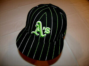 Oakland A's Black Hat Green/White Pin Stripes New Era 59Fifty 100% Wool 7 1/2