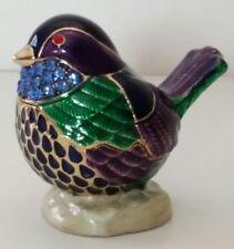 Limoges Style Baby Bird Trinket Box Hinged Magnetic Closure Jeweled Ceramic