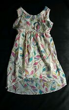 Children's Place Feather Dress Polyester, Lined, XS 4 Cream Pink Purple Blue....