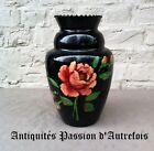 B2017966 - Vase en verre de 29,5 cm décor peint mains 1930-40 - Très bon état