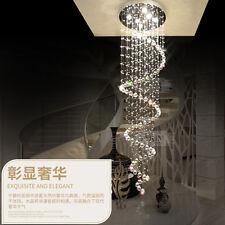 Luxury Crystal Pendant Lamp Ceiling Light Spiral Rain Drop Chandelier Lighting