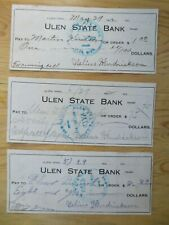 (3) 1920s Ulem State Bank Canceled Checks Grave Digging Bell Ringing Used MN