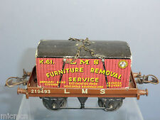 """VINTAGE HORNBY '0' MODEL No.1  BR """" LMS""""  FLAT WAGON & FURNITURE CONTAINER"""