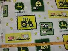 JOHN DEERE fabric TRACTOR FABRIC FARM SCENE WHITE CP55575  BTY NEW