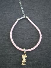 Modern Sterling Silver Minnie Mouse Dangle Charm on a Pink Faux Leather Bracelet