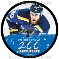 RYAN O'REILLY #90 St. Louis Blues 200 Career Goals Hockey Puck -February 8, 2021