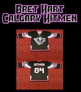 Bret Hart Calgary Hitmen Hockey Jersey sz 40 S SMALL shirt