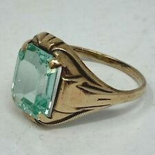 10k Yellow Gold Lt Blue Green Spinel Emerald Cut Synthetic Stone Ring Size 6.25