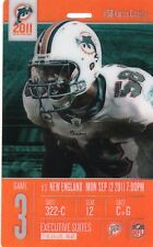 2011 NEW ENGLAND PATRIOTS @ DOLPHINS 3D SUITE FULL TICKET STUB BRADY 517 YD