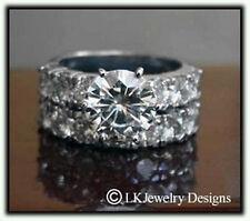 6.75 CT MOISSANITE ROUND FOREVER BRILLIANT SEMI ETERNITY WEDDING SET RING