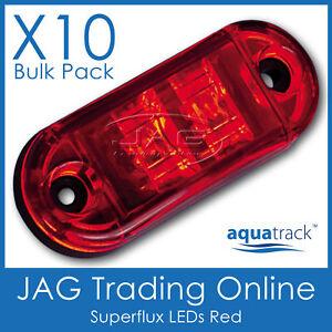 10 x 12V SUPERFLUX LED RED MARKER LAMPS - Boat/Caravan/Trailer Clearance Lights