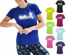 Laufshirt Damen LÄUFT Running T Shirt Funktionsshirt reflektierend bedruckt