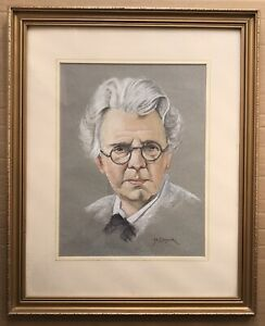 Original Irish Art Pastel Painting Picture Drawing Of W B Yeats By M Cordner