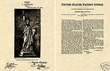 STATUE of LIBERTY PATENT 1879 Art Print READY TO FRAME!! Bartholdi France torch