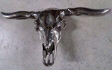 "Large 6"" Mexican Sterling-like Silver Metal Western Biker Longhorn Belt Buckle"