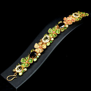 "REAL YELLOW CITRINE QUARTZ CHROME DIOPSIDE SAPPHIRE...BRACELET 7"" 925 SILVER"