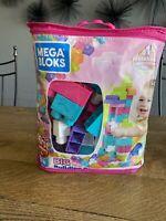Mega Bloks Big Building Bag - Pink, 80pcs - New in Damaged Bag - Free Shipping