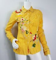 Johnny Was 3J Workshop Top Size Small Yellow Striped Floral Embroidered Buttons