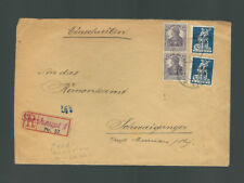 A-1259**GERMANY 1921 MULTI FRANKED R-COVER - OLD BAVARIAN R-LABEL