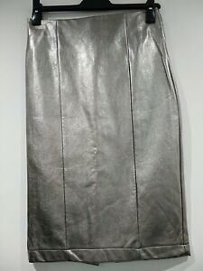 bnwt NEXT PARTY SKIRT UK 8 36 PENCIL STRAIGHT MIDI PU FAUX LEATHER GOLD SHIMMER