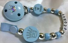 ♕ PERSONALISED Dummy Clip ♕ **LITTLE PRINCE** ♕ Max 10 Letters  ♕ SILVER & BLUE♕