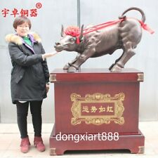 1 m Chinea Art Deco Wood Bronze Wall Street OX Oxen Bull Cattle Animal Sculpture