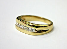 MEN'S  RING 14K SOLID Y/GOLD / PRINCESS CUT DIAMONDS, SIZE 9 3/4, 1 CT, 8.6, GR.