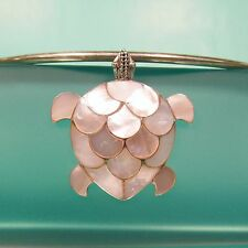 "2"" Large Turtle Mother of Pearl Shell 925 Sterling Silver Handmade Pendant"